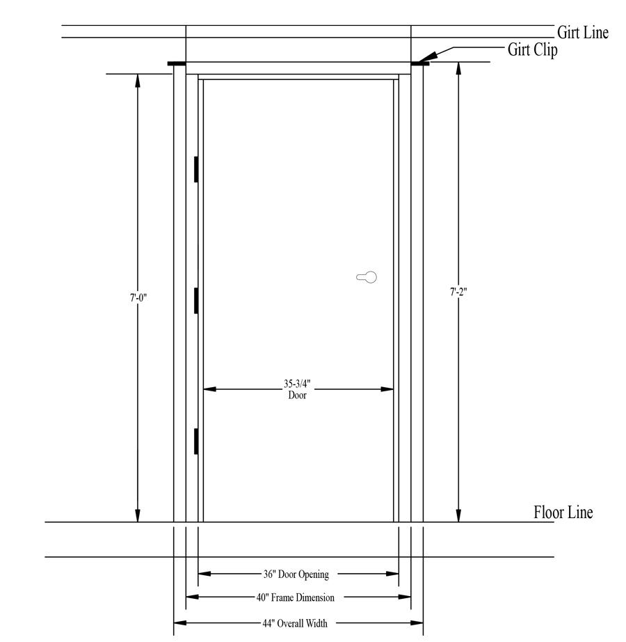 Steel walk door rough opening size measuring instructions - Rough opening for exterior 36 inch door ...