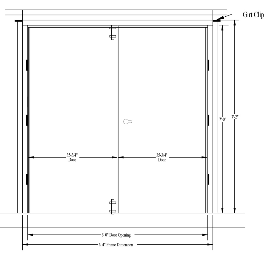 Steel walk door rough opening size measuring instructions for Double opening front doors